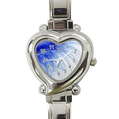 Feather Blue Colored Heart Italian Charm Watch