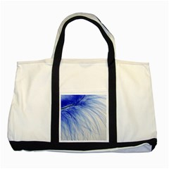 Feather Blue Colored Two Tone Tote Bag