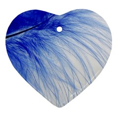 Feather Blue Colored Heart Ornament (two Sides)