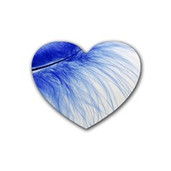 Feather Blue Colored Heart Coaster (4 Pack)
