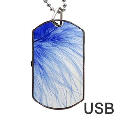 Feather Blue Colored Dog Tag Usb Flash (one Side)