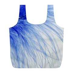 Feather Blue Colored Full Print Recycle Bags (l)