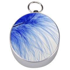Feather Blue Colored Silver Compasses