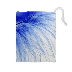 Feather Blue Colored Drawstring Pouches (large)
