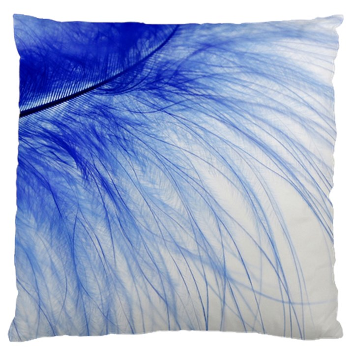 Feather Blue Colored Large Flano Cushion Case (Two Sides)