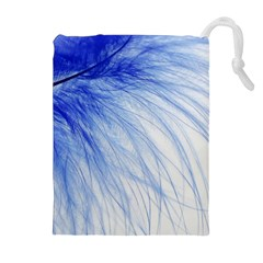 Feather Blue Colored Drawstring Pouches (extra Large)