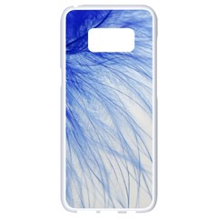 Feather Blue Colored Samsung Galaxy S8 White Seamless Case