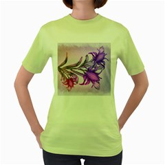 Flowers Flower Purple Flower Women s Green T Shirt