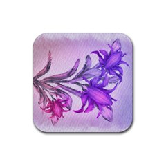 Flowers Flower Purple Flower Rubber Square Coaster (4 Pack)
