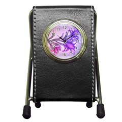 Flowers Flower Purple Flower Pen Holder Desk Clocks