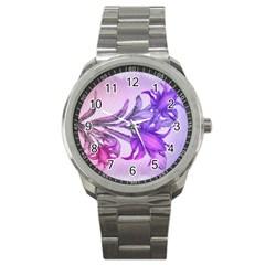 Flowers Flower Purple Flower Sport Metal Watch