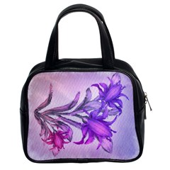 Flowers Flower Purple Flower Classic Handbags (2 Sides)