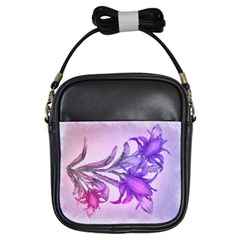 Flowers Flower Purple Flower Girls Sling Bags