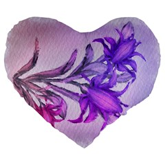 Flowers Flower Purple Flower Large 19  Premium Heart Shape Cushions