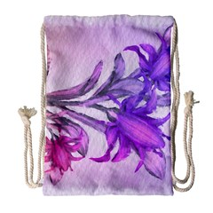 Flowers Flower Purple Flower Drawstring Bag (large)