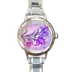 Flowers Flower Purple Flower Round Italian Charm Watch