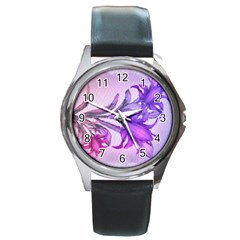 Flowers Flower Purple Flower Round Metal Watch