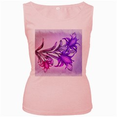 Flowers Flower Purple Flower Women s Pink Tank Top