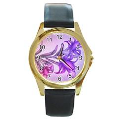 Flowers Flower Purple Flower Round Gold Metal Watch