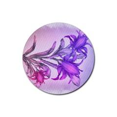 Flowers Flower Purple Flower Rubber Coaster (round)