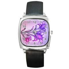 Flowers Flower Purple Flower Square Metal Watch