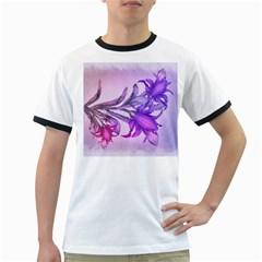 Flowers Flower Purple Flower Ringer T Shirts
