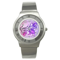 Flowers Flower Purple Flower Stainless Steel Watch