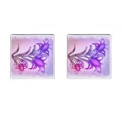 Flowers Flower Purple Flower Cufflinks (square)