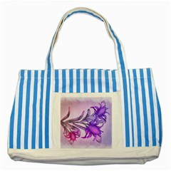 Flowers Flower Purple Flower Striped Blue Tote Bag