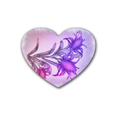 Flowers Flower Purple Flower Heart Coaster (4 Pack)