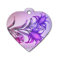 Flowers Flower Purple Flower Dog Tag Heart (one Side)