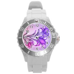 Flowers Flower Purple Flower Round Plastic Sport Watch (l)