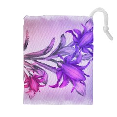 Flowers Flower Purple Flower Drawstring Pouches (extra Large)