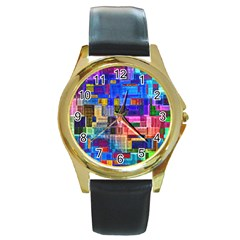 Background Art Abstract Watercolor Round Gold Metal Watch