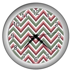 Chevron Blue Pink Wall Clocks (silver)
