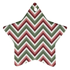Chevron Blue Pink Star Ornament (two Sides)