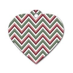 Chevron Blue Pink Dog Tag Heart (one Side)