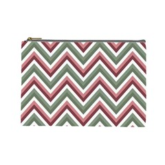 Chevron Blue Pink Cosmetic Bag (large)