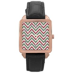 Chevron Blue Pink Rose Gold Leather Watch
