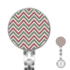 Chevron Blue Pink Stainless Steel Nurses Watch