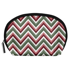 Chevron Blue Pink Accessory Pouches (large)