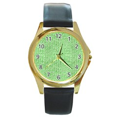 Knittedwoolcolour2 Round Gold Metal Watch
