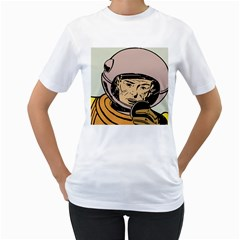 Astronaut Retro Women s T Shirt (white) (two Sided)