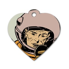 Astronaut Retro Dog Tag Heart (one Side)
