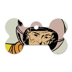 Astronaut Retro Dog Tag Bone (two Sides)
