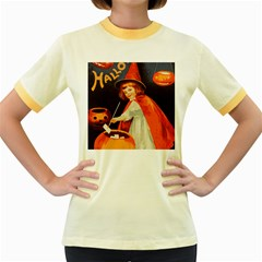 Haloweencard2 Women s Fitted Ringer T Shirts