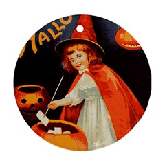 Haloweencard2 Round Ornament (two Sides)