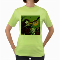 Playing Skeleton Women s Green T Shirt