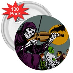 Playing Skeleton 3  Buttons (100 Pack)
