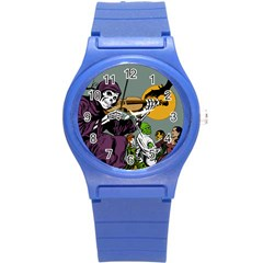 Playing Skeleton Round Plastic Sport Watch (s)